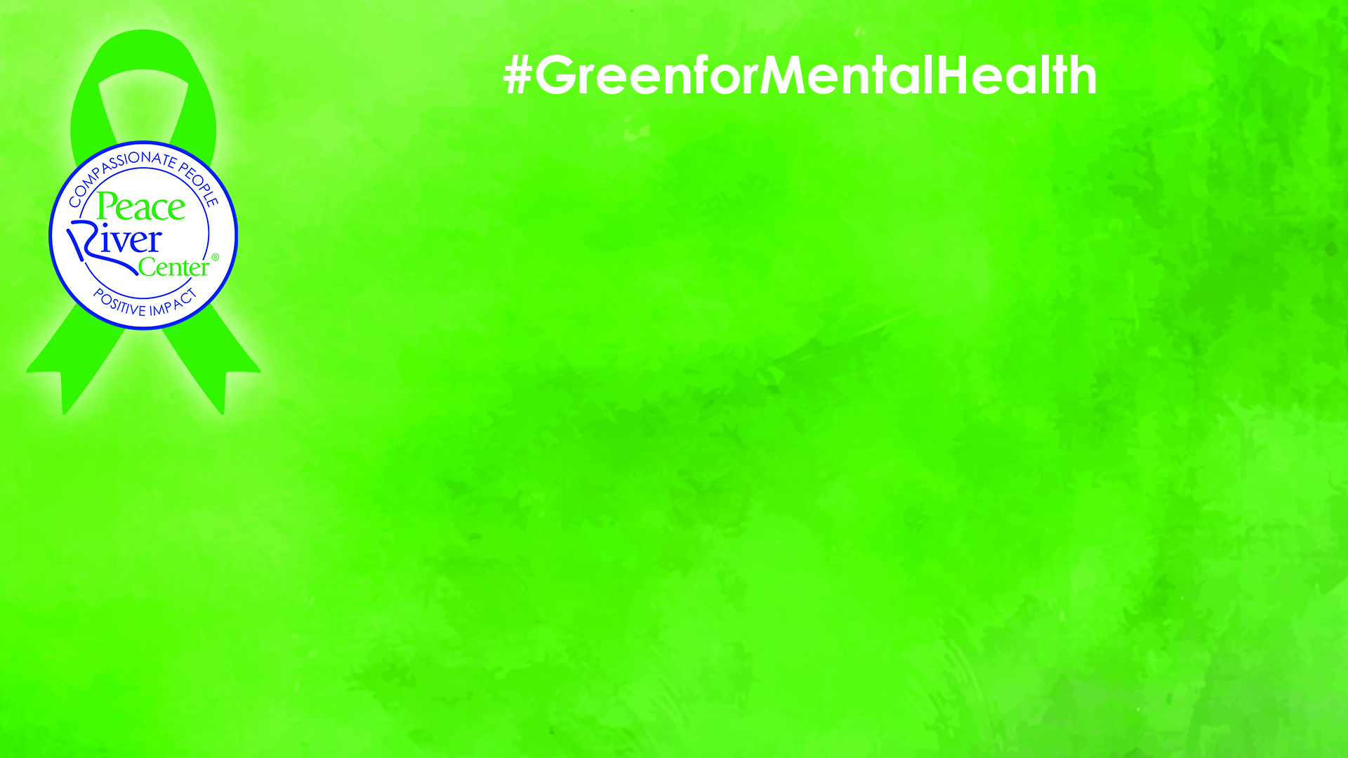Zoom Background Image Ribbon with PRC logo and Green for Mental Health