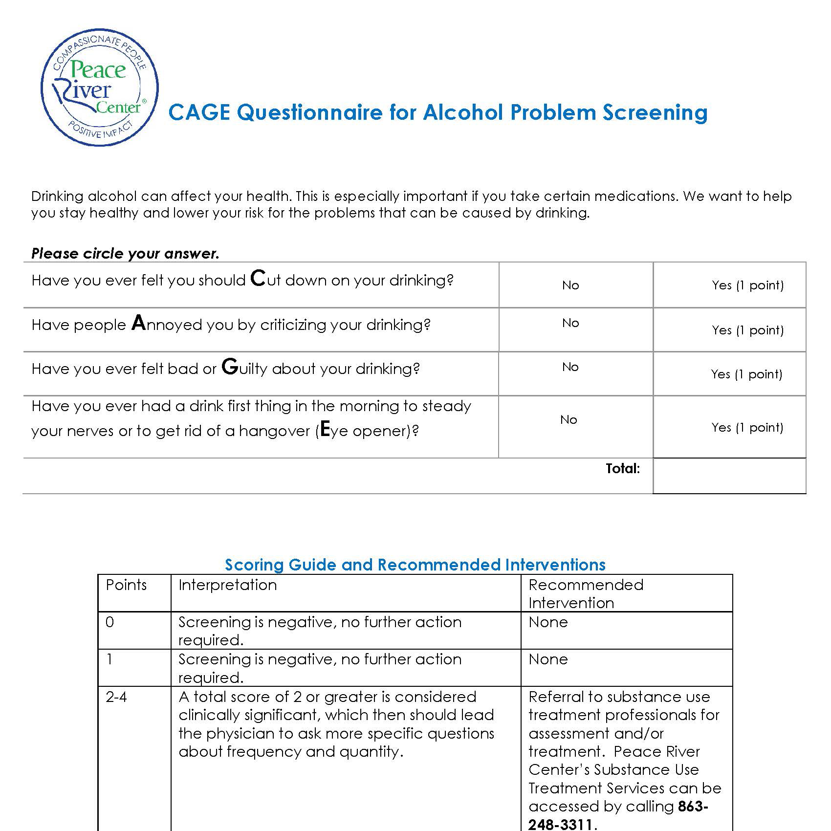 CAGE Substance Abuse Screening form image