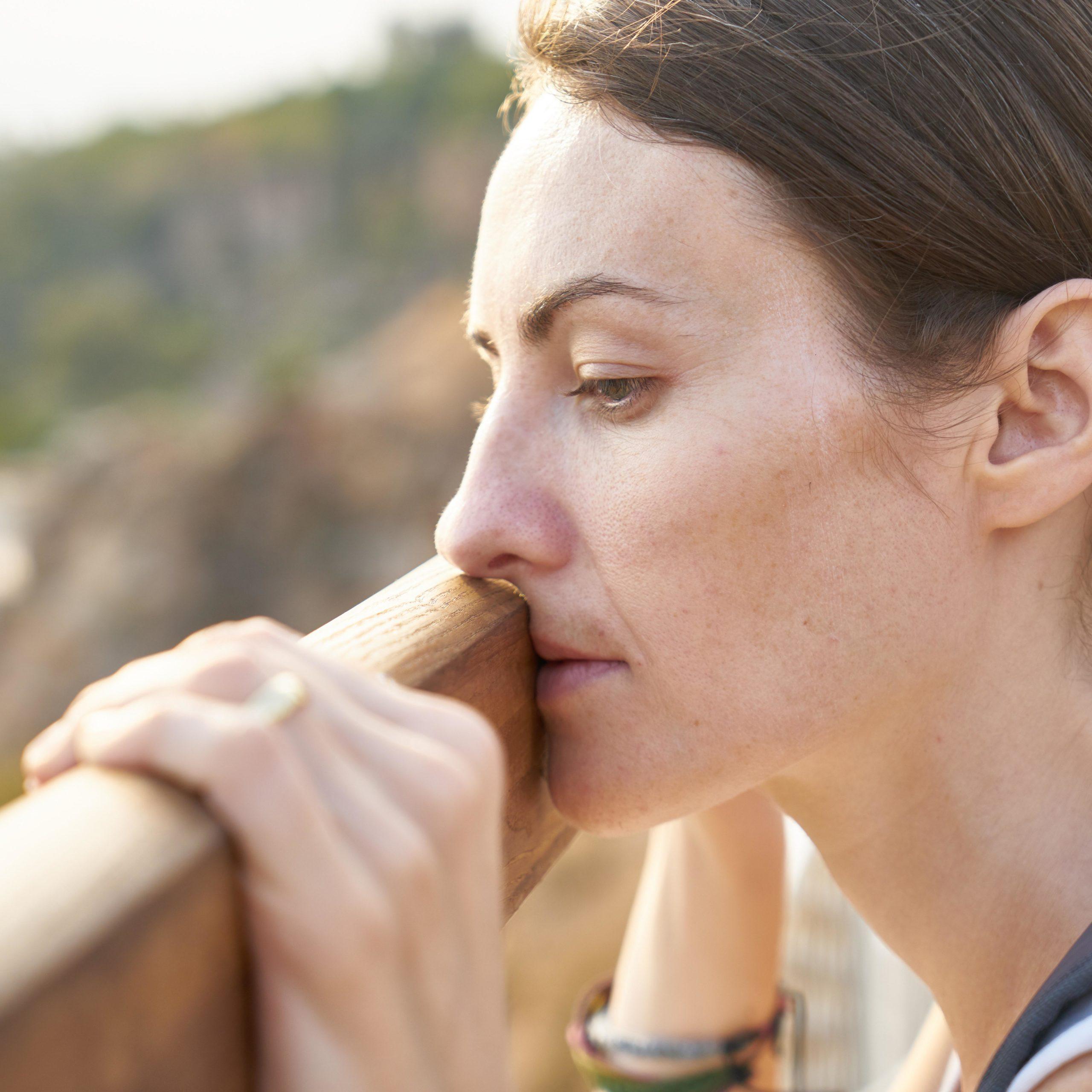 caucasian woman looking depressed