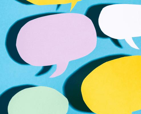 multi colored conversation bubbles