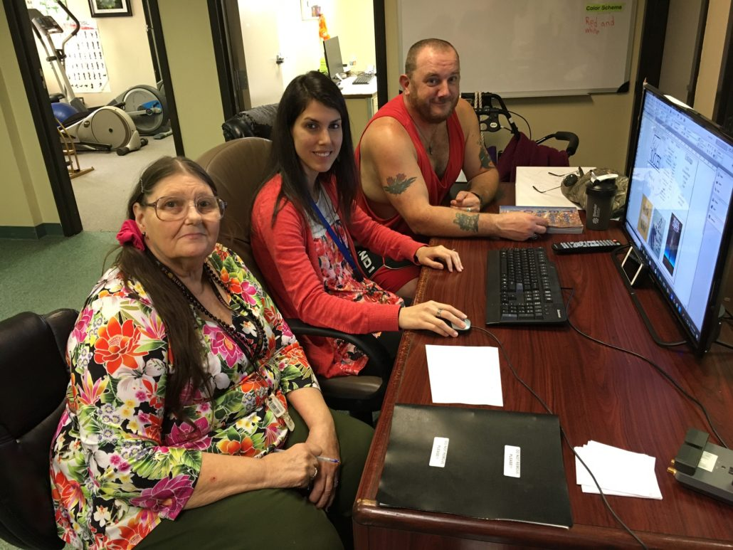 Joyce, Carmen, and Rich Working on Media in Club Success Clerical Unit