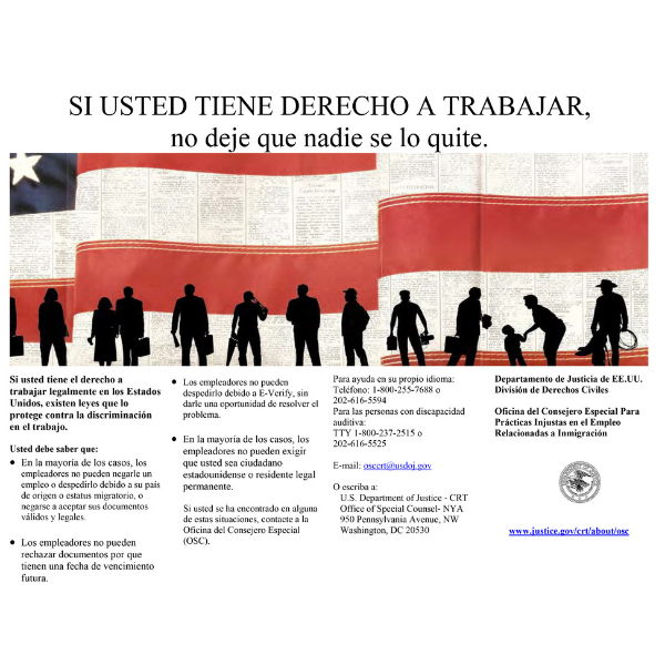 Right to Work Poster in Spanish