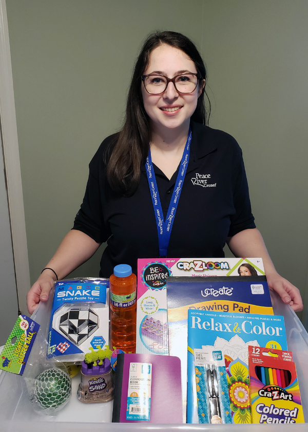 childrens team therapist with coping skills box