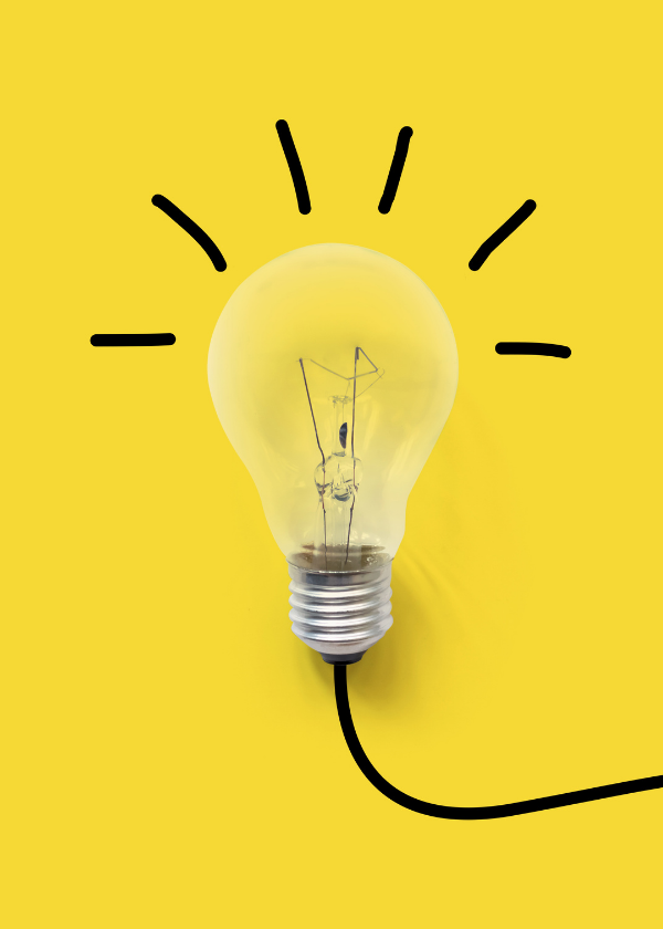 lightbulb with drawing on yellow background