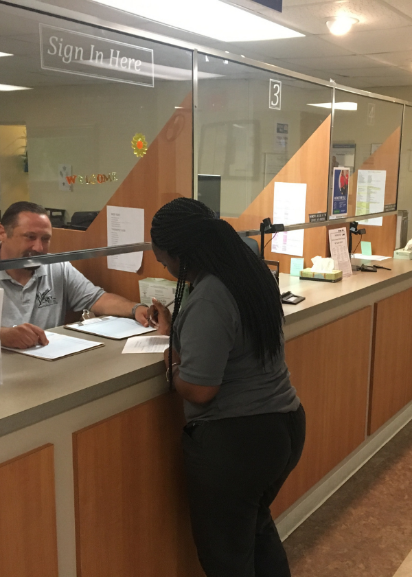mock client checking in at gilmore