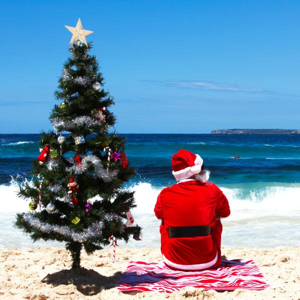 santa on beach with christmas tree